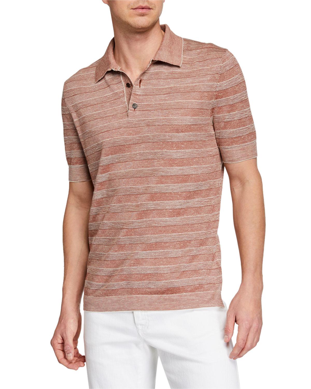 7948e0fd76 Ermenegildo Zegna Men's Striped Polo Shirt | Neiman Marcus
