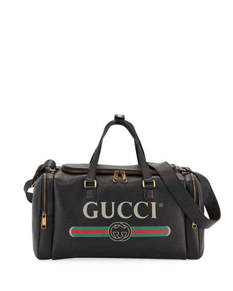 Image 1 of 3: Gucci Men's Gucci-Print Leather Duffel Bag