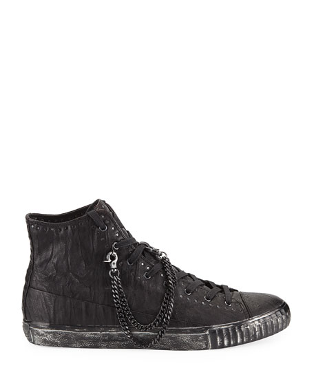 Studded Mid-Top Leather Sneakers