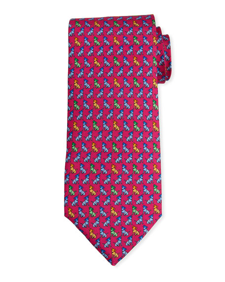 Petronius 1926 Men's Dog Print Haiti Tie