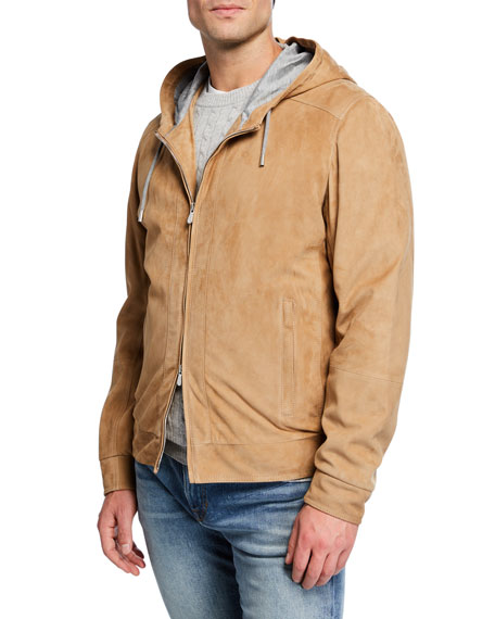 Brunello Cucinelli Men's Suede Full Zip Hoodie