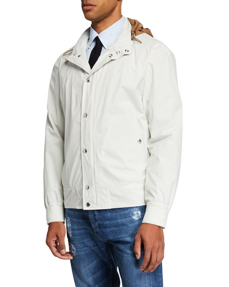 Men's Nylon Coat with Packaway Hood