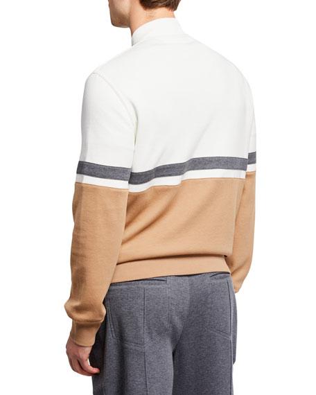 Brunello Cucinelli Men's Colorblock Zip-Front Sweater