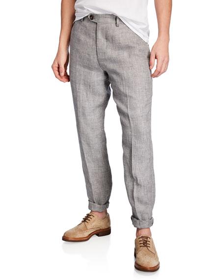 Brunello Cucinelli Pants MEN'S HOUNDSTOOTH LINEN PANTS