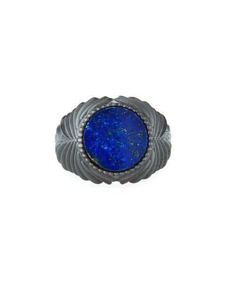Emanuele Bicocchi Men's Feathered Lapis Lazuli Ring