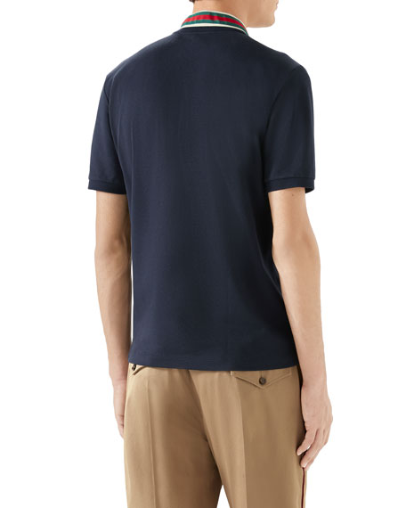 Image 2 of 4: Gucci Men's Pique Polo Shirt w/ Web Collar