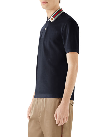 Image 3 of 4: Gucci Men's Pique Polo Shirt w/ Web Collar