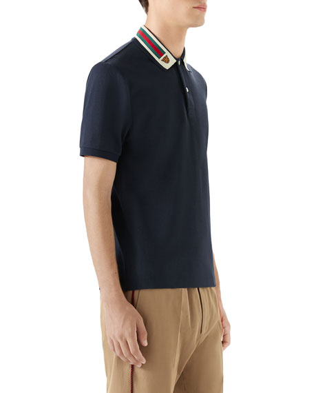 Image 4 of 4: Gucci Men's Pique Polo Shirt w/ Web Collar
