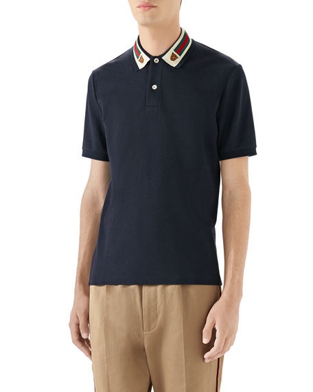 Image 1 of 4: Gucci Men's Pique Polo Shirt w/ Web Collar