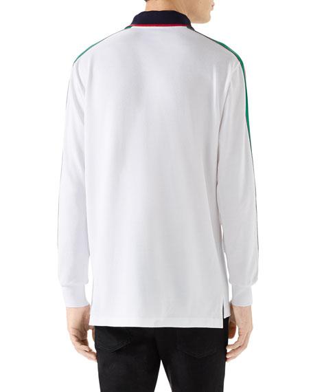 Gucci Men's Web-Striped Long-Sleeve Polo Shirt
