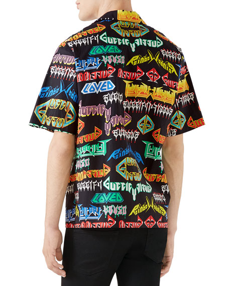 Gucci Men's Multi-Punk Graphic Short-Sleeve Sport Shirt