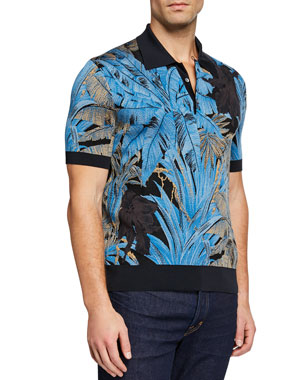 6b7cde0e609 Salvatore Ferragamo Men s Tropical Intarsia Runway Polo Shirt
