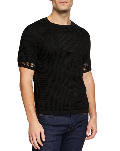 Men's Open-Knit Cotton T-Shirt