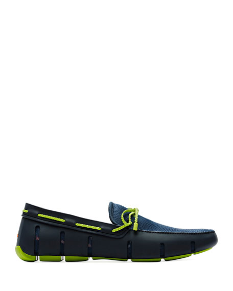 Swims Mesh & Rubber Braided-Lace Boat Shoes