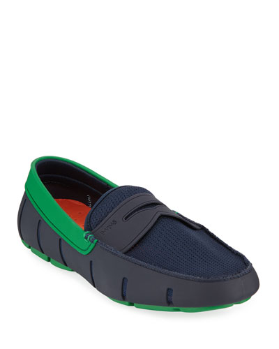 Men's Rubber Penny Loafer Water Shoes  Navy/Jolly Green