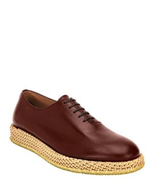 ebd49d3ef99 Salvatore Ferragamo Men s Avord Whole-Cut Lace-Up Shoes on Rope Sole