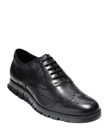 Image 1 of 5: Cole Haan Men's ZeroGrand Leather Wing-Tip Oxfords