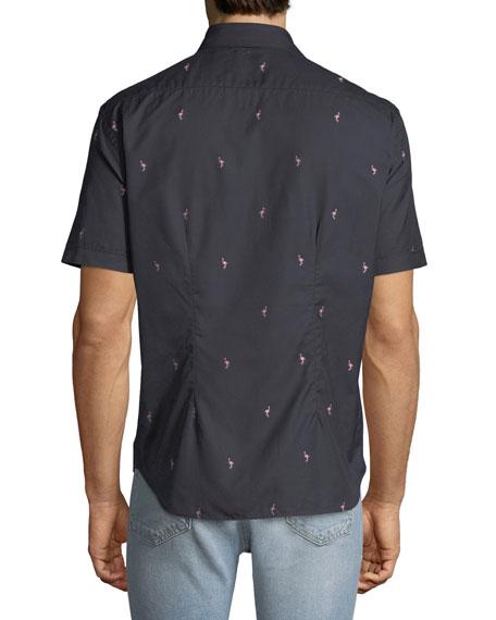 Culturata Men's Soft Flamingo Print Shirt