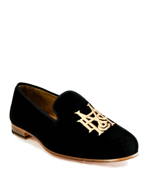 df105ac557b Romero + McPaul Men s Embroidered Velvet Loafers
