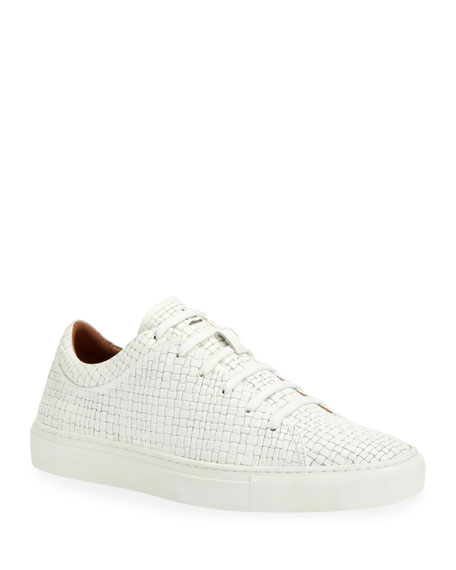 Aquatalia Men's Alaric Embossed Leather Low-Top Sneakers