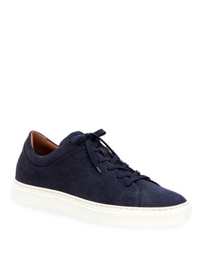Men's Alaric Corduroy Suede Low-Top Sneakers