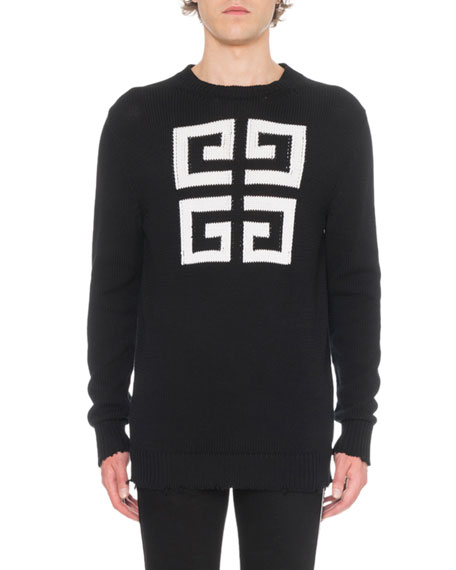 Givenchy Men's Jacquard Round-Neck Sweater