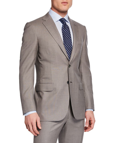 Men's Taupe Windowpane Two-Piece Suit
