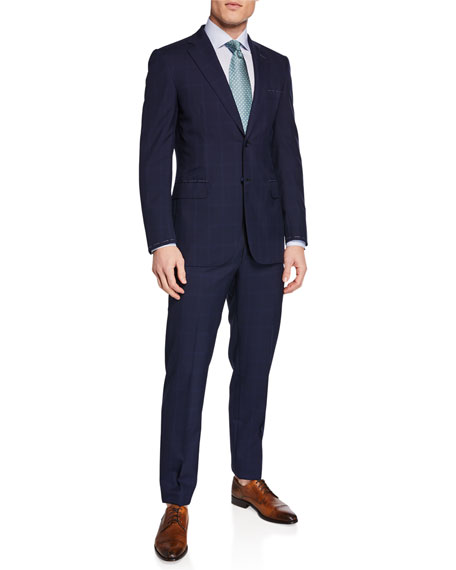 Image 2 of 4: Brioni Men's Tonal Windowpane Two-Piece Suit