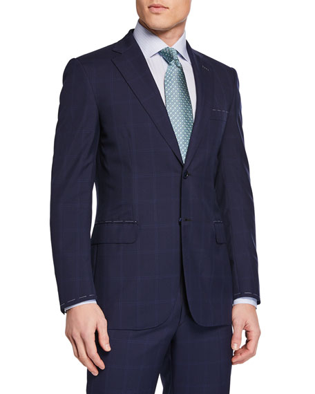 Image 1 of 4: Brioni Men's Tonal Windowpane Two-Piece Suit