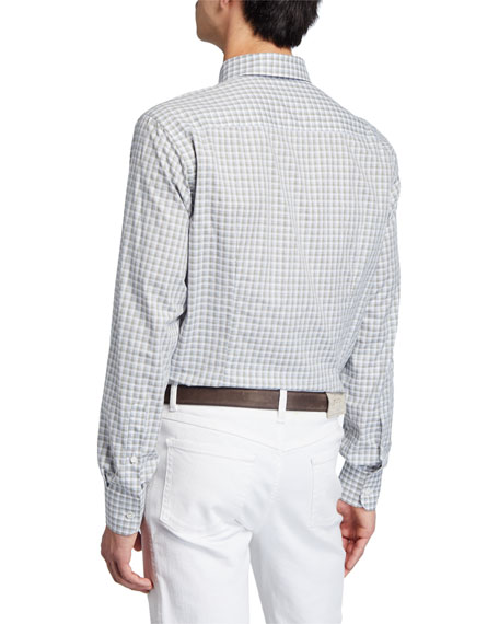 Image 2 of 3: Brioni Men's Grid Check Cotton Dress Shirt