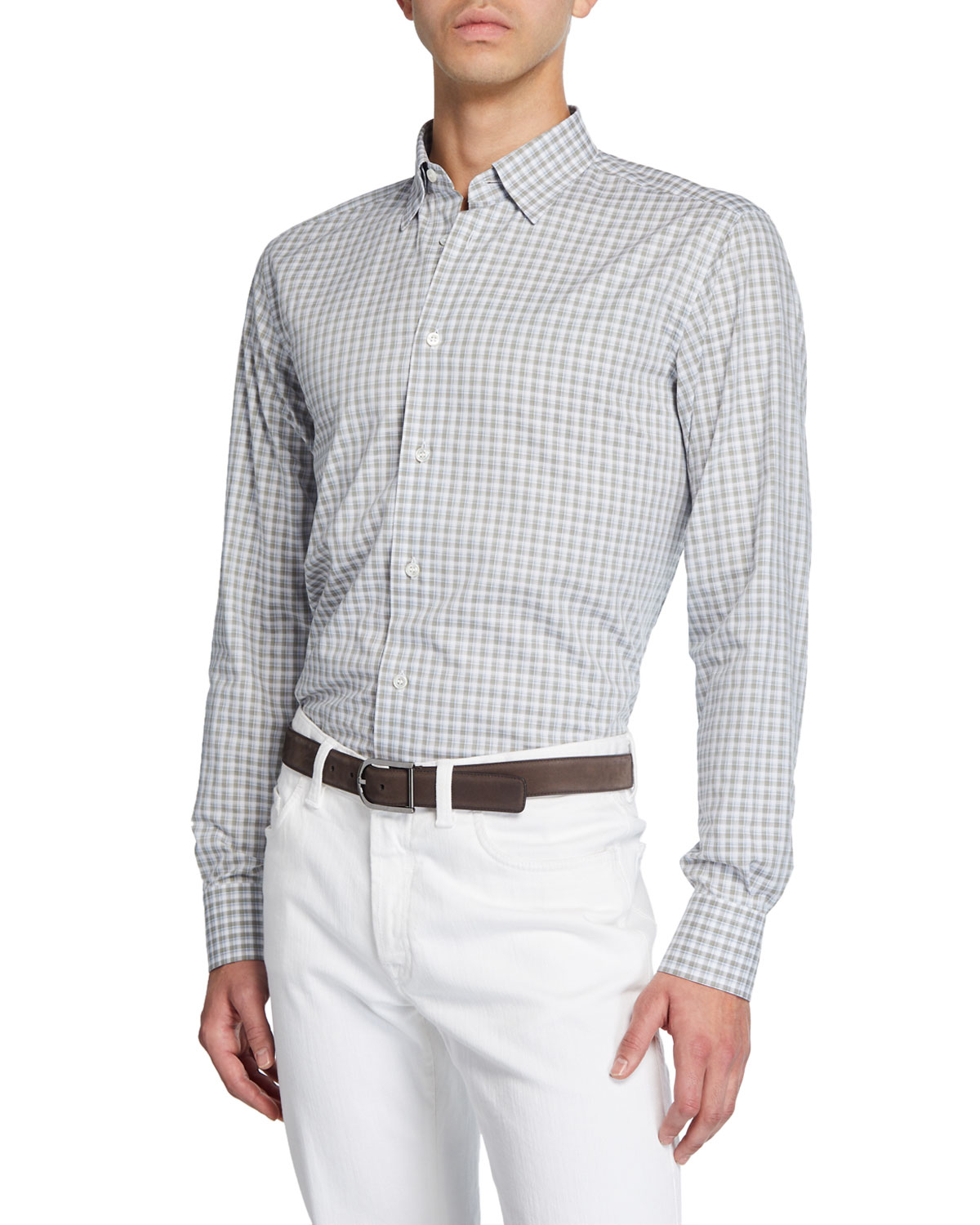 Brioni Men's Grid Check Cotton Dress Shirt