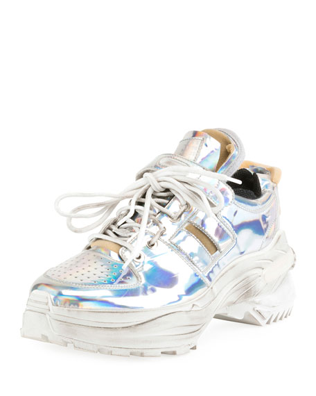 Maison Margiela Men's Artisanal Metallic Trainer Sneakers
