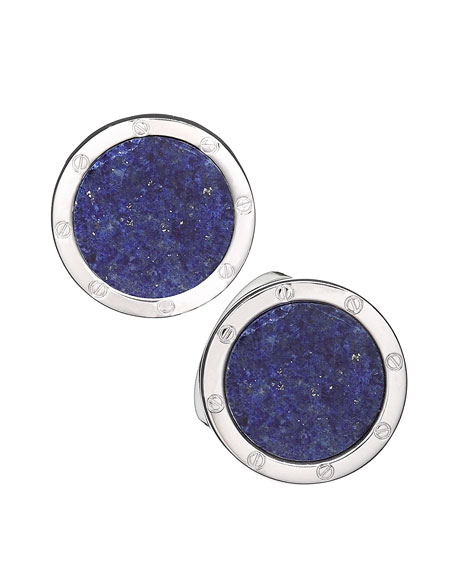 Jan Leslie Round Lapis Cuff Links, Blue