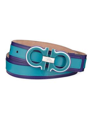 3fd9fe3cb1e1e1 Salvatore Ferragamo Men's Striped Calfskin Belt