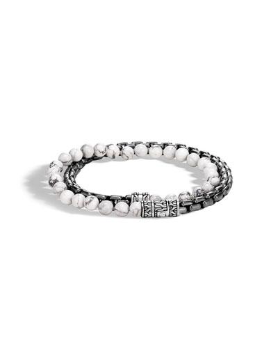 Men's Classic Chain Double-Wrap Bracelet w/ Howlite