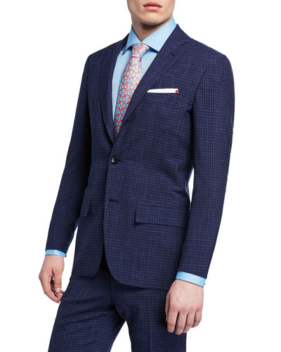 Men's Check Two-Piece Wool Suit