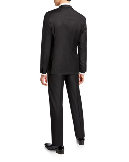 Hickey Freeman Men's Two-Piece Tasmanian Wool Tuxedo Suit with Satin Notch Lapel