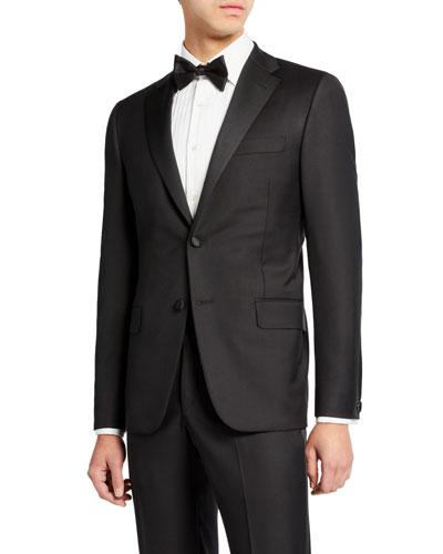 Men's Two-Piece Tasmanian Wool Tuxedo Suit with Satin Notch Lapel