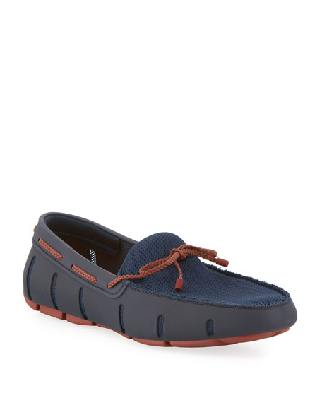 Swims Mesh & Rubber Braided-Lace Boat Shoes, Navy/Red