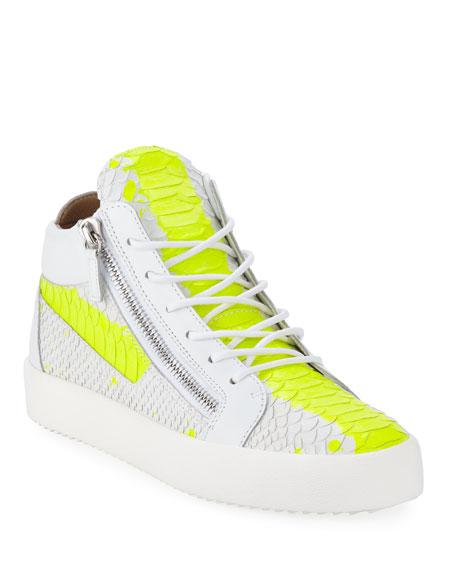 Giuseppe Zanotti Men's Neon Snake Double Zip Mid-Top Sneaker