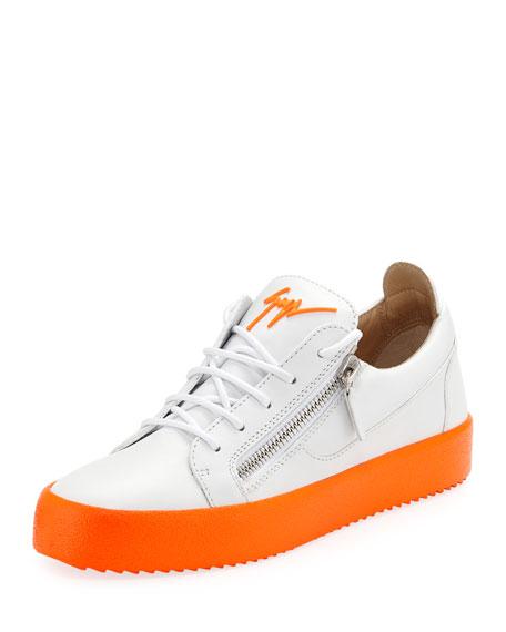 Giuseppe Zanotti Men's Neon-Sole Double-Zip Low-Top Sneakers