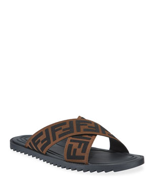 official photos f6560 1c469 Fendi Mens FF Band Slide Sandals