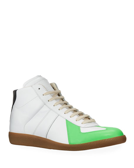 Maison Margiela Men's Replica Leather/Suede Colorblock High-Top Sneakers