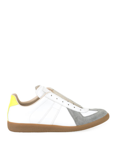 Image 2 of 3: Men's Replica Colorblock Leather/Suede Low-Top Sneakers