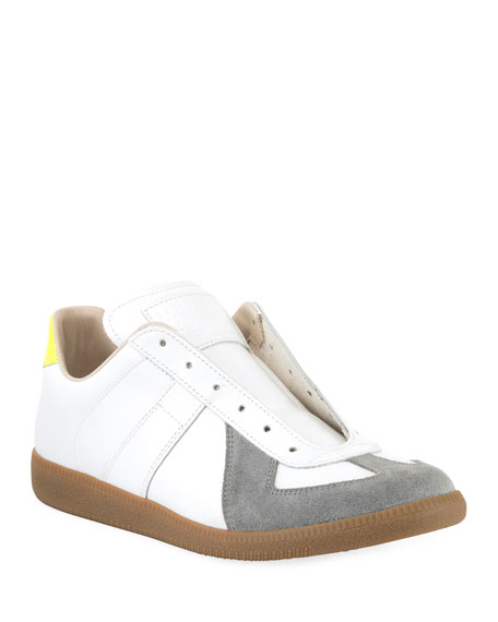 Image 1 of 3: Men's Replica Colorblock Leather/Suede Low-Top Sneakers