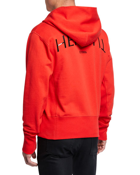 Helmut Lang Men's Logo Hack Cotton Pullover Hoodie