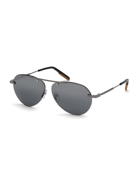Ermenegildo Zegna Men's Shiny Gunmetal Half-Rim Sunglasses