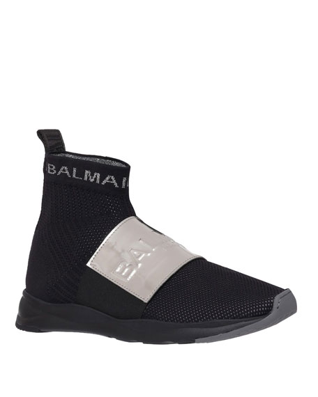 Balmain Men's Cameron Knit Logo-Strap Running Sock Sneakers