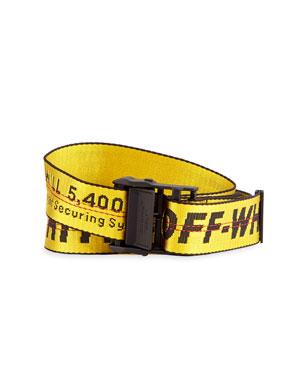 b2e56327 Off-White Men's Industrial Web Logo Belt, Yellow. Favorite. Quick Look