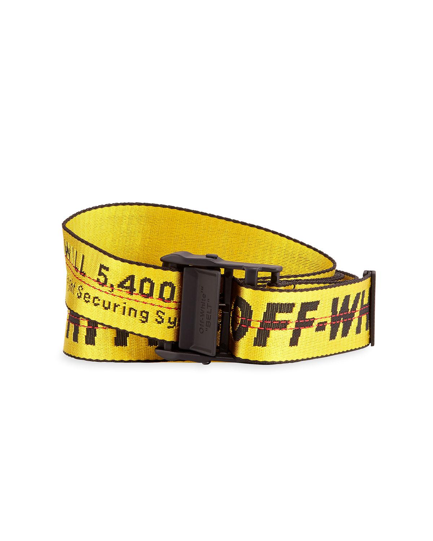 Off-White Men's Industrial Web Logo Belt, Yellow | Neiman Marcus